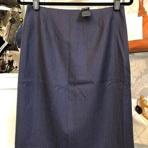 BROOKS BROTHERS Navy Blue Pinstriped Wool Skirt